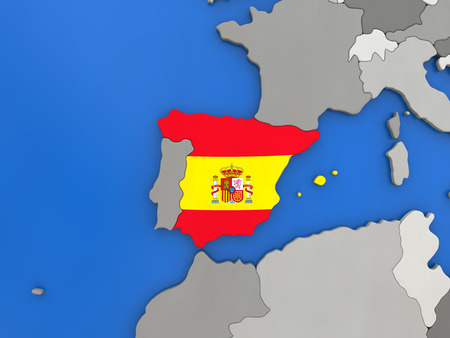 spaniard: Map of Spain with embedded national flag on globe, top-down view. 3D illustration Stock Photo