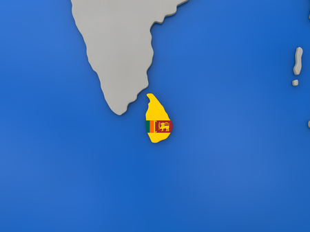 sri lankan flag: Map of Sri Lanka with embedded national flag on globe, top-down view. 3D illustration