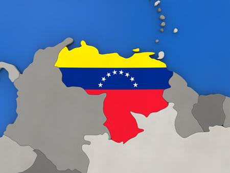 bandera de venezuela: Mapa de Venezuela con la bandera nacional integrada en el mundo, vista de arriba hacia abajo. Ilustración 3D