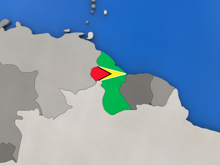 Map of Guyana with embedded national flag on globe, top-down view. 3D illustration