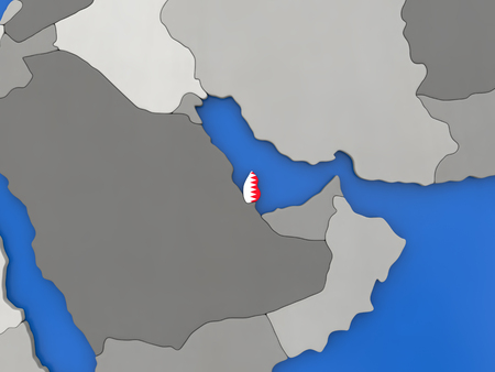embedded: Map of Qatar with embedded national flag on globe, top-down view. 3D illustration