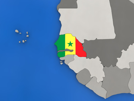 senegalese: Map of Senegal with embedded national flag on globe, top-down view. 3D illustration Stock Photo