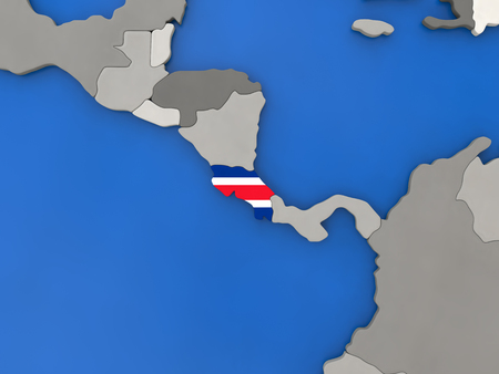 Map of Costa Rica with embedded national flag on globe, top-down view. 3D illustration Stock Photo