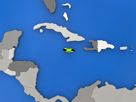 Map of Jamaica with embedded national flag on globe, top-down view. 3D illustration