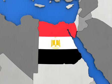 topdown: Map of Egypt with embedded national flag on globe, top-down view. 3D illustration