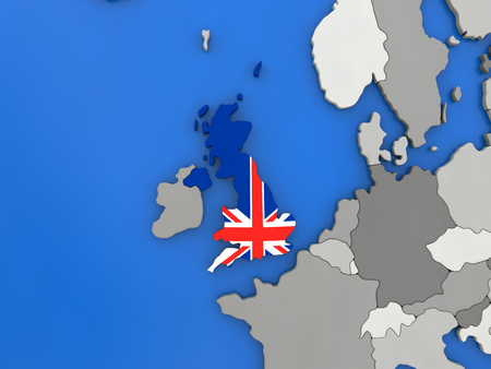 Map of United Kingdom with embedded national flag on globe, top-down view. 3D illustration