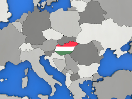 magyar: Map of Hungary with embedded national flag on globe, top-down view. 3D illustration Stock Photo