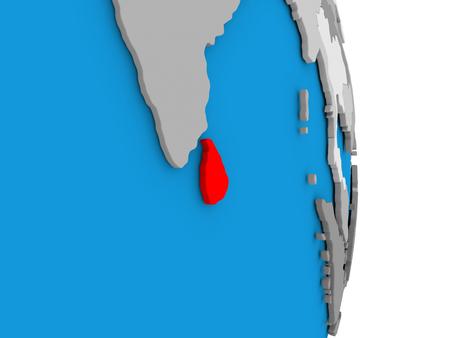 Map of Sri Lanka in red on globe. 3D illustration Stock Photo