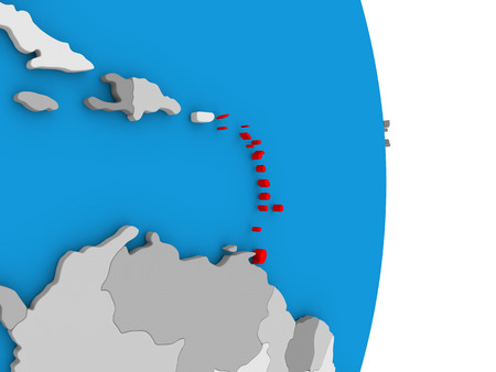 dominican: Map of Caribbean in red on globe. 3D illustration