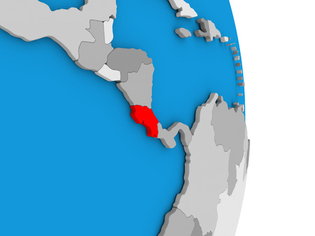 Map of Costa Rica in red on globe. 3D illustration