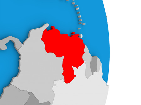 Map of Venezuela in red on globe. 3D illustration Stock Photo