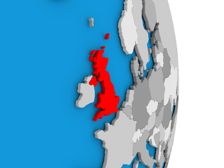 Map of United Kingdom in red on globe. 3D illustration
