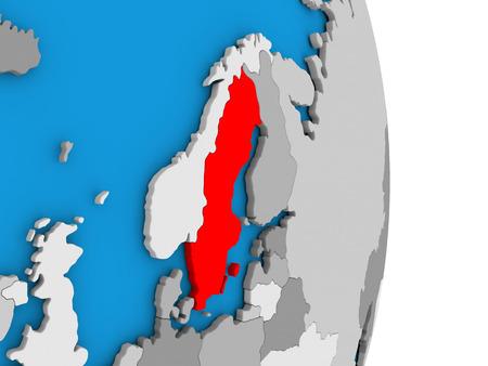 Map of Sweden in red on globe. 3D illustration