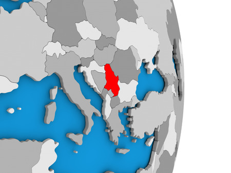 serbian: Map of Serbia in red on globe. 3D illustration