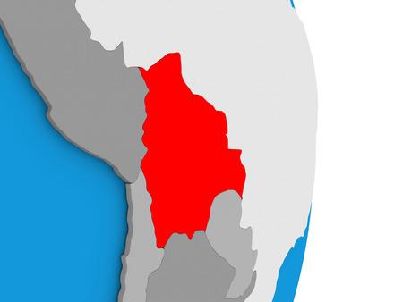 mapa de bolivia: Map of Bolivia in red on globe. 3D illustration
