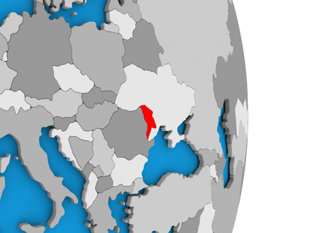 moldova: Map of Moldova in red on globe. 3D illustration