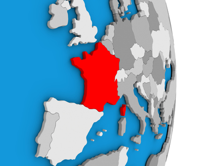 francaise: Map of France in red on globe. 3D illustration