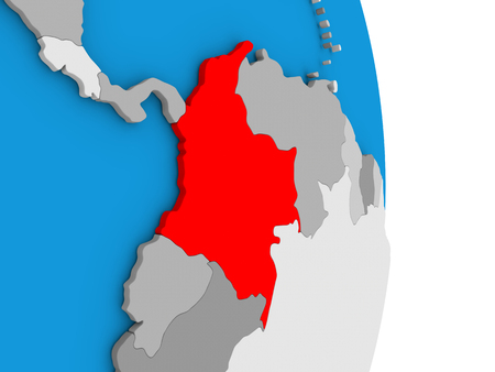 Map of Colombia in red on globe. 3D illustration