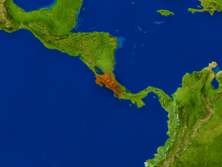 Top-down view of Costa Rica hightlighted in red as seen from Earths orbit in space. 3D illustration with highly detailed realistic planet surface. Elements of this image furnished by NASA. Stock Photo