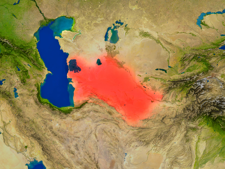 turkmenistan: Top-down view of Turkmenistan hightlighted in red as seen from Earths orbit in space. 3D illustration with highly detailed realistic planet surface. Elements of this image furnished by NASA.