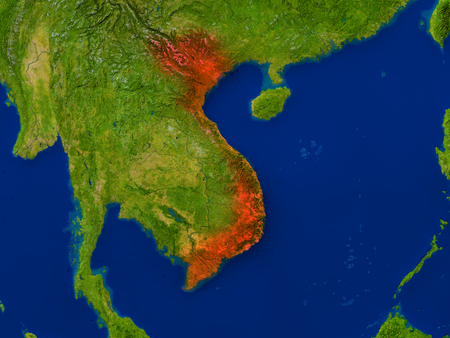 detailed image: Top-down view of Vietnam hightlighted in red as seen from Earths orbit in space. 3D illustration with highly detailed realistic planet surface. Elements of this image furnished by NASA.