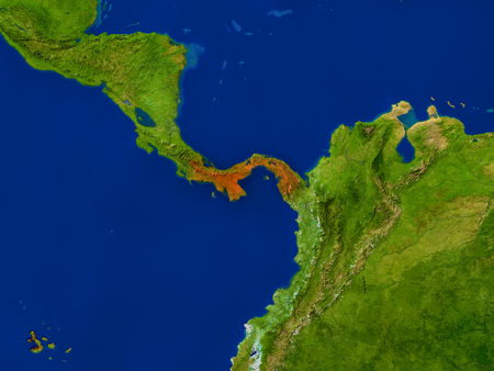 detailed image: Top-down view of Panama hightlighted in red as seen from Earths orbit in space. 3D illustration with highly detailed realistic planet surface. Elements of this image furnished by NASA.