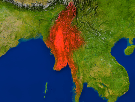 burmese: Top-down view of Myanmar hightlighted in red as seen from Earths orbit in space. 3D illustration with highly detailed realistic planet surface.