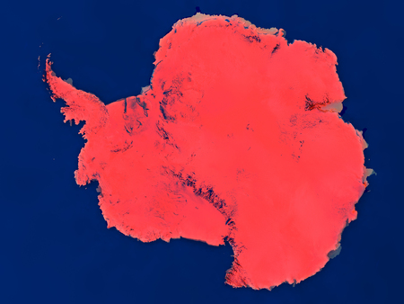 Top-down view of Antarctica hightlighted in red as seen from Earths orbit in space. 3D illustration with highly detailed realistic planet surface.