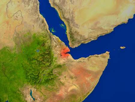 Top-down view of Djibouti hightlighted in red as seen from Earths orbit in space. 3D illustration with highly detailed realistic planet surface.