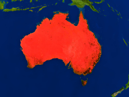 commonwealth: Top-down view of Australia hightlighted in red as seen from Earths orbit in space. 3D illustration with highly detailed realistic planet surface.
