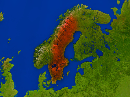 Top-down view of Sweden hightlighted in red as seen from Earths orbit in space. 3D illustration with highly detailed realistic planet surface. Stock Photo