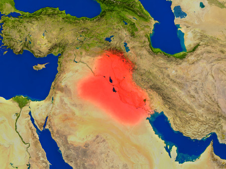 Top-down view of Iraq hightlighted in red as seen from Earths orbit in space. 3D illustration with highly detailed realistic planet surface.