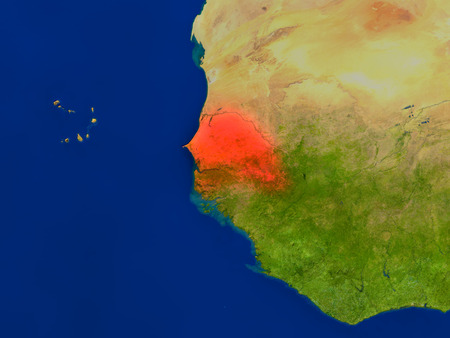 senegalese: Top-down view of Senegal hightlighted in red as seen from Earths orbit in space. 3D illustration with highly detailed realistic planet surface. Stock Photo