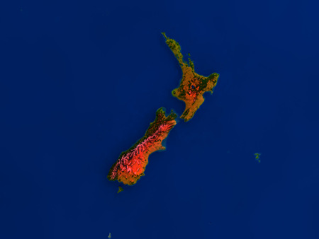 aotearoa: Top-down view of New Zealand hightlighted in red as seen from Earths orbit in space. 3D illustration with highly detailed realistic planet surface.