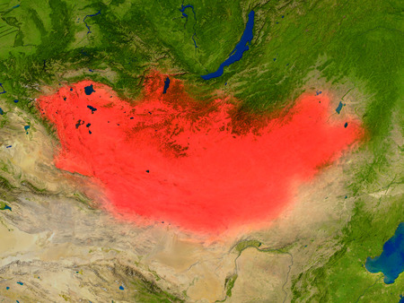 Top-down view of Mongolia hightlighted in red as seen from Earths orbit in space. 3D illustration with highly detailed realistic planet surface.