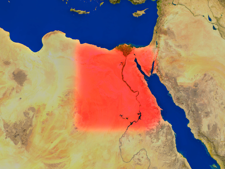Top-down view of Egypt hightlighted in red as seen from Earths orbit in space. 3D illustration with highly detailed realistic planet surface. Stock Photo