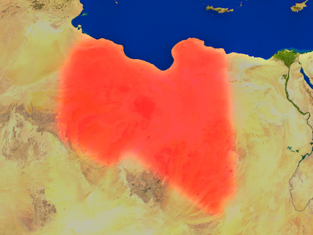 Top-down view of Libya hightlighted in red as seen from Earths orbit in space. 3D illustration with highly detailed realistic planet surface.