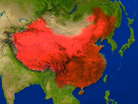 Top-down view of China hightlighted in red as seen from Earths orbit in space. 3D illustration with highly detailed realistic planet surface. Stock Photo