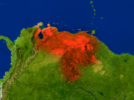 Top-down view of Venezuela hightlighted in red as seen from Earths orbit in space. 3D illustration with highly detailed realistic planet surface.