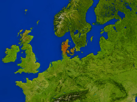 Top-down view of Denmark hightlighted in red as seen from Earths orbit in space. 3D illustration with highly detailed realistic planet surface. Stock Photo