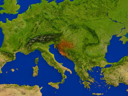 croatian: Top-down view of Croatia hightlighted in red as seen from Earths orbit in space. 3D illustration with highly detailed realistic planet surface. Stock Photo