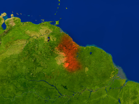Top-down view of Guyana hightlighted in red as seen from Earths orbit in space. 3D illustration with highly detailed realistic planet surface.