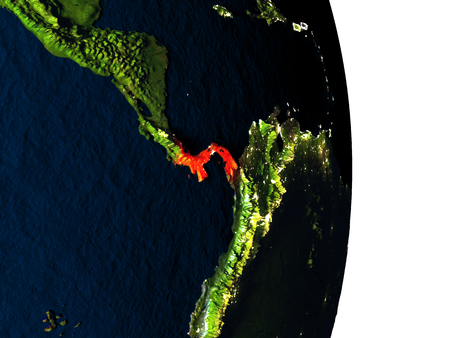 panamanian: Dusk over Panama highlighted in red with city lights as seen from Earths orbit in space. 3D illustration with highly detailed realistic planet surface.