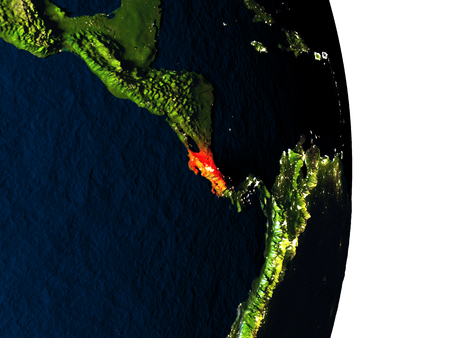 Dusk over Costa Rica highlighted in red with city lights as seen from Earths orbit in space. 3D illustration with highly detailed realistic planet surface.