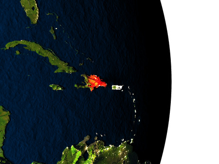 dominican: Dusk over Dominican Republic highlighted in red with city lights as seen from Earths orbit in space. 3D illustration with highly detailed realistic planet surface.