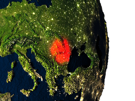 Dusk over Romania highlighted in red with city lights as seen from Earths orbit in space. 3D illustration with highly detailed realistic planet surface. Stock Photo