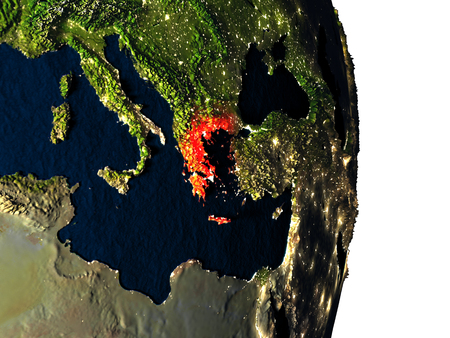 hellenic: Dusk over Greece highlighted in red with city lights as seen from Earths orbit in space. 3D illustration with highly detailed realistic planet surface.