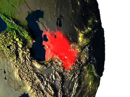 turkmenistan: Dusk over Turkmenistan highlighted in red with city lights as seen from Earths orbit in space. 3D illustration with highly detailed realistic planet surface.