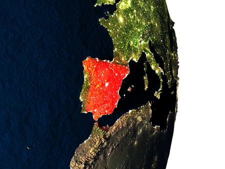 Dusk over Spain highlighted in red with city lights as seen from Earths orbit in space. 3D illustration with highly detailed realistic planet surface. Stock Photo