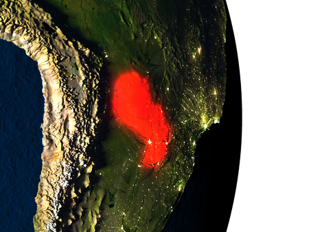 Dusk over Paraguay highlighted in red with city lights as seen from Earths orbit in space. 3D illustration with highly detailed realistic planet surface.